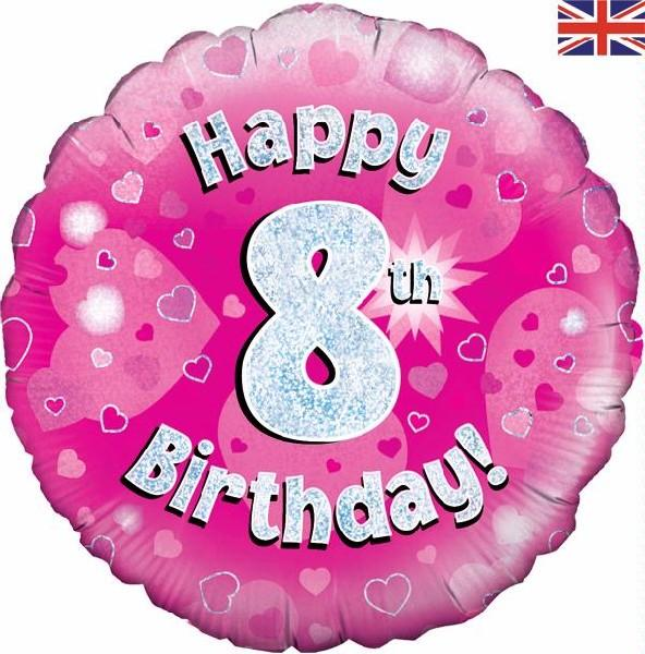 "8th Birthday Pink 18"" Foil Balloon"