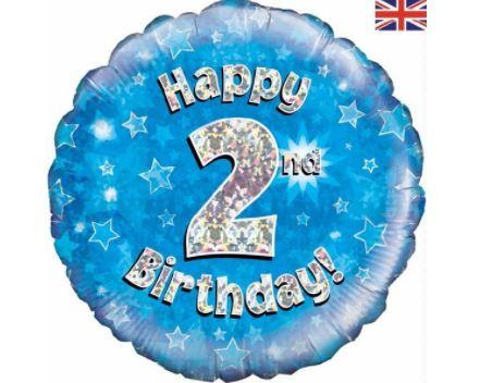 "2nd Birthday Blue 18"" Foil Balloon"