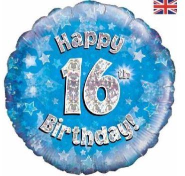 "16th Birthday Blue 18"" Foil Balloon"