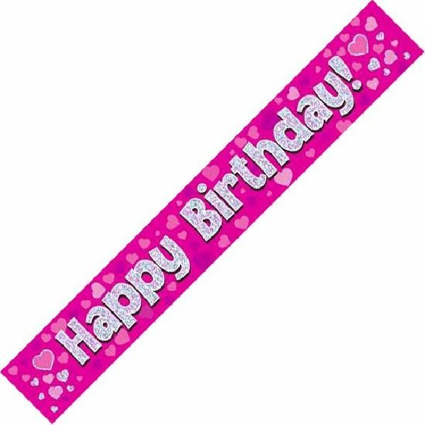 9ft Holographic Happy Birthday Pink Banner