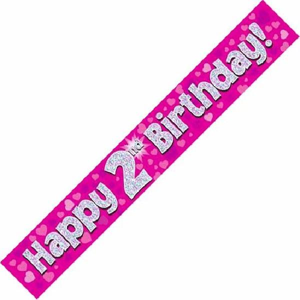 9ft Holographic 2nd Birthday Pink Banner