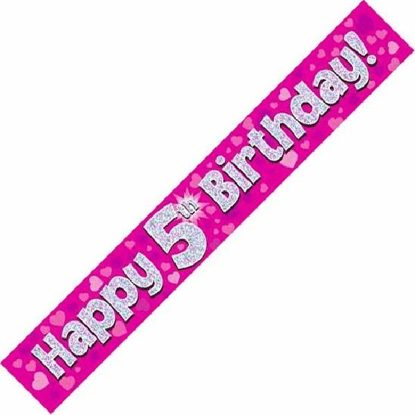 9ft Holographic 5th Birthday Pink Banner
