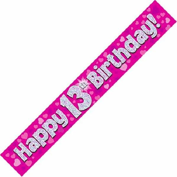 9ft Holographic 13th Birthday Pink Banner