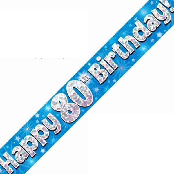 9ft Holographic 80th Birthday Blue Banner