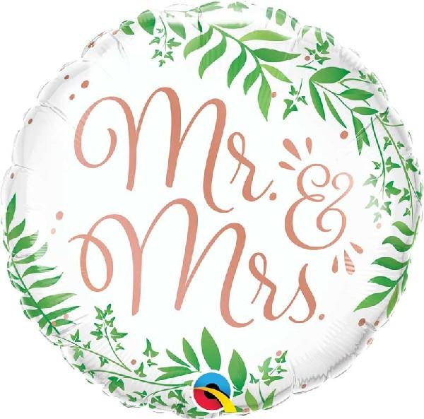 "Elegant Greenery Day Mr & Mrs 18"" Foil Balloon"