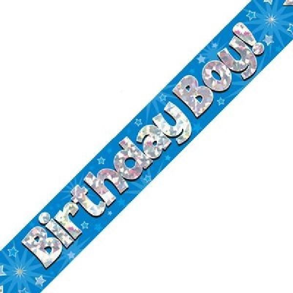 9ft Holographic Birthday Boy Blue Banner