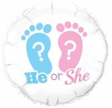 "He Or She? Footprints 18"" Foil Balloon"