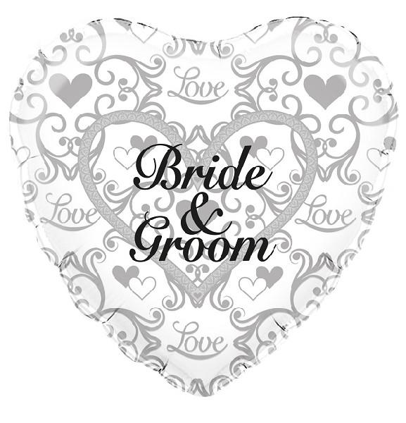 "Bride And Groom Filigree 18"" Foil Balloon"