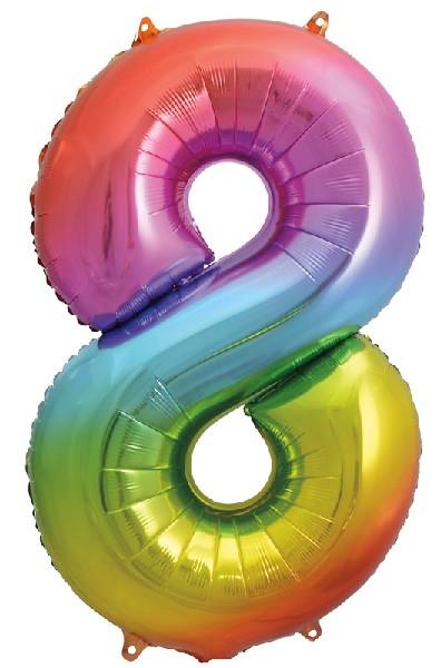 "Rainbow Number 8 34"" Foil Balloon"