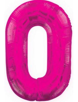 "Pink Glitz Number 0 34"" Foil Balloon"