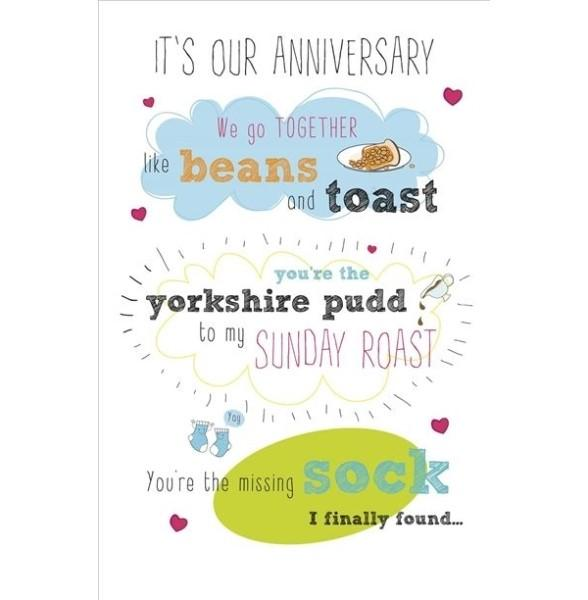 Like Beans and Toast Anniversary Card