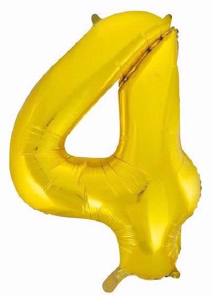 "Gold Glitz Number 4 34"" Foil Balloon"