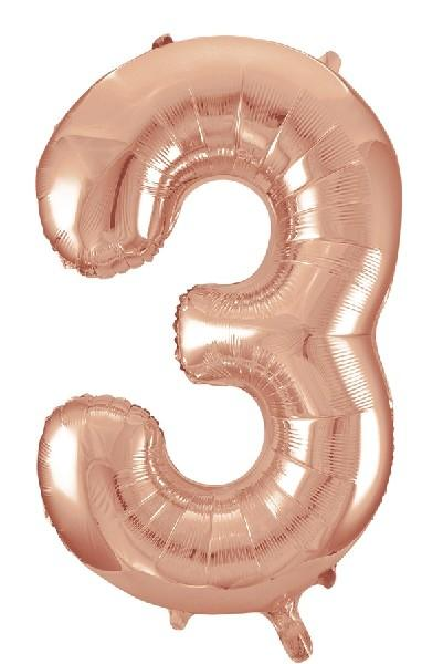 "Rose Gold Number 3 34"" Foil Balloon"