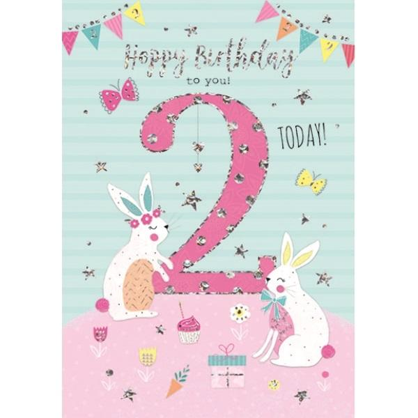 2nd Birthday Card - Bunny Rabbits Pink