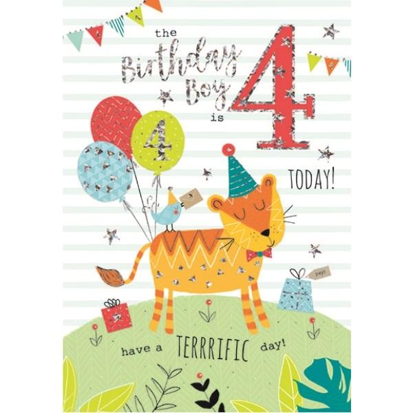 4th Birthday Card - Brown Cat