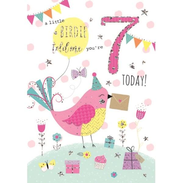 7th Birthday Card - Pink Birdie