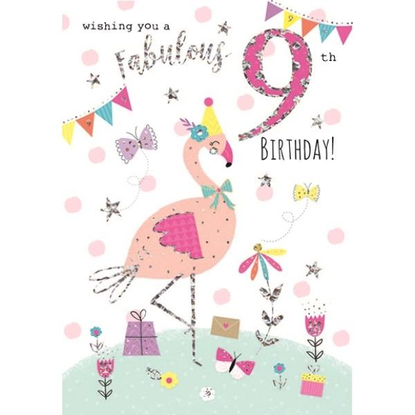 9th Birthday Card - Pink Flamingo