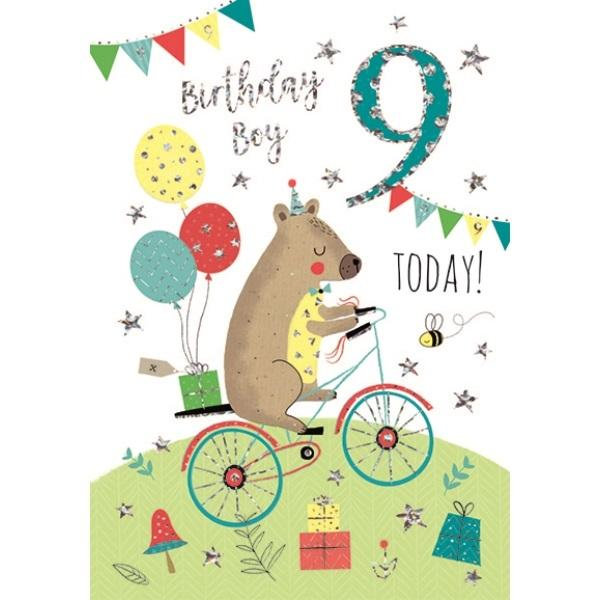 9th Birthday Card - Animal on Bicycle