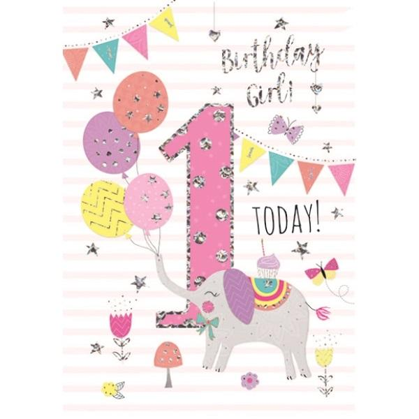 1st Birthday Card - Pink Elephant Balloons