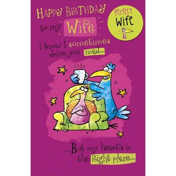Birthday Card - Wife Cup of Birds