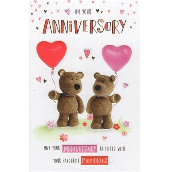 Balloons And Cute Teddies Anniversary Card