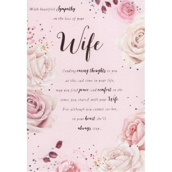 With Heartfelt Sympathy On The Loss Of Your Wife Sending Caring Thoughts Card