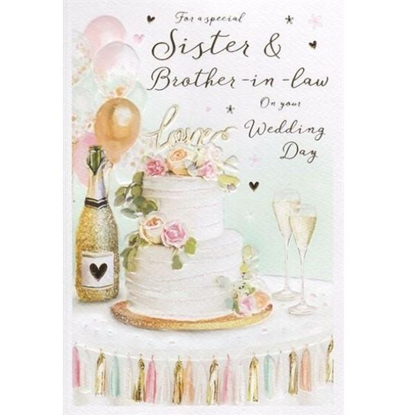 Sister & Brother-in-law Cake & Champagne Wedding Card