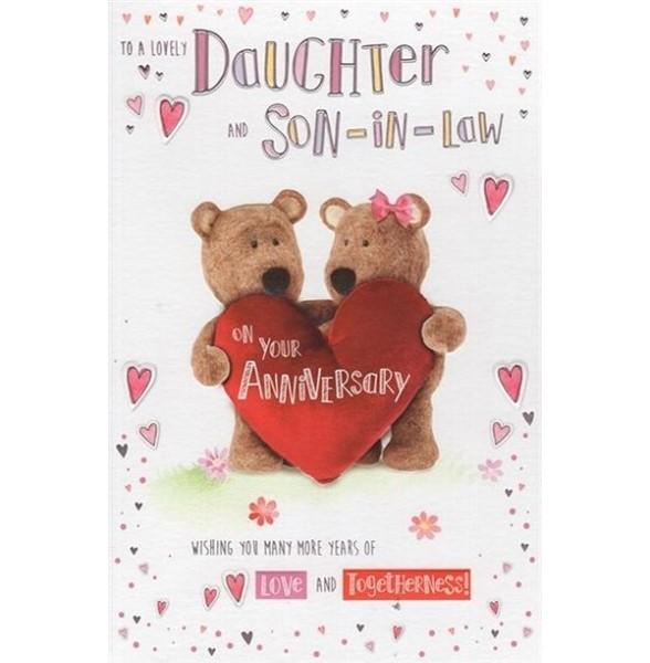 Cute Teddies Daughter & Son-in-law Anniversary Card