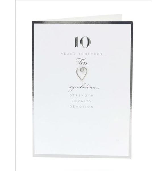 10 Years Together Tin Anniversary Card