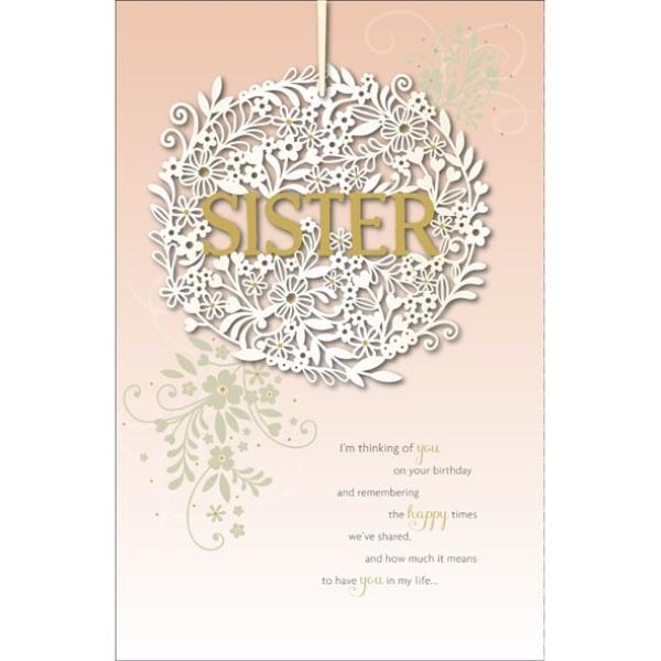 Birthday Card - Sister Heart Shape