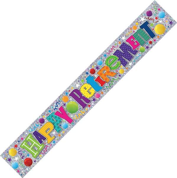 9ft Happy Retirement Multicolour Foil Banner