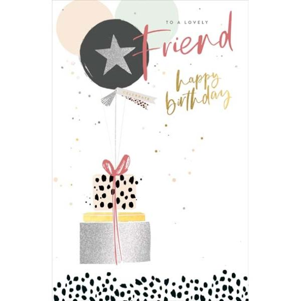 Gifts & Balloon Lovely Friend Birthday Card