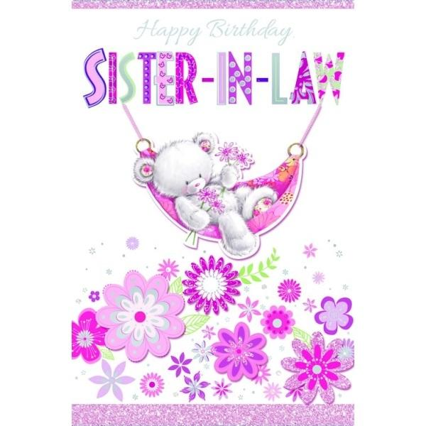Birthday Card - Sister in Law Hanging Teddy Cover