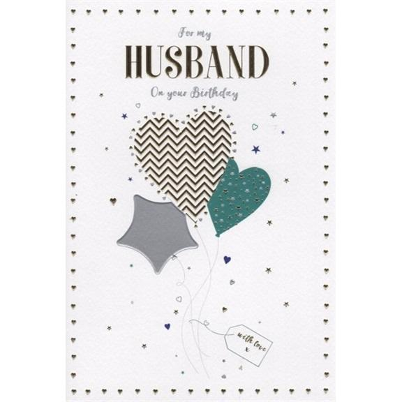 Husband Hearts Birthday Card