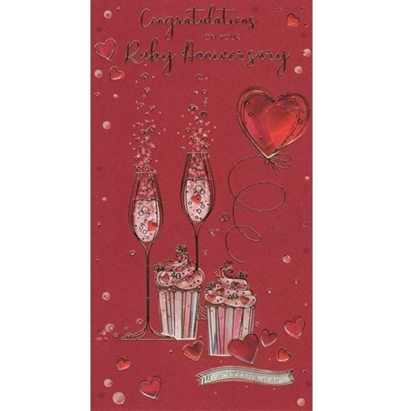 Cupcakes & Fizz Ruby Anniversary Card