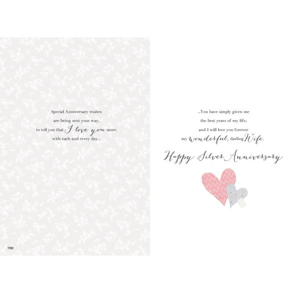 Lovely Wife Silver 25th Anniversary Card