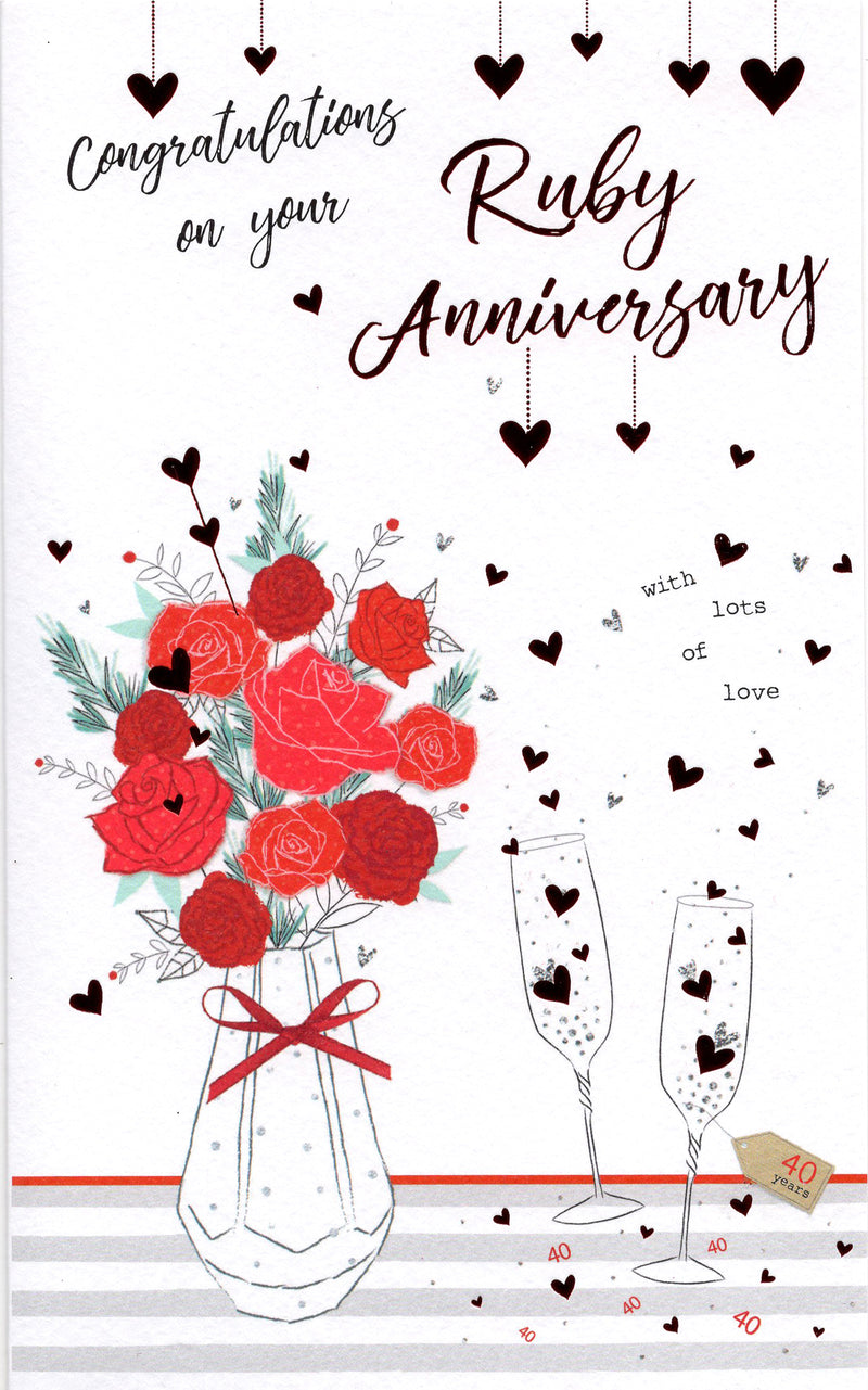 Roses & Champagne Ruby 40th Anniversary Card