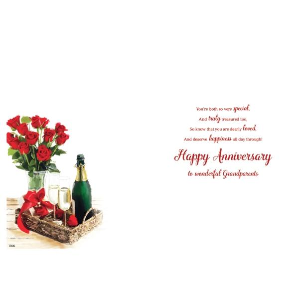 Roses & Champagne Grandparents Anniversary Card