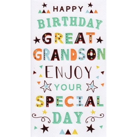 Great Grandson Colour Letters Birthday Card