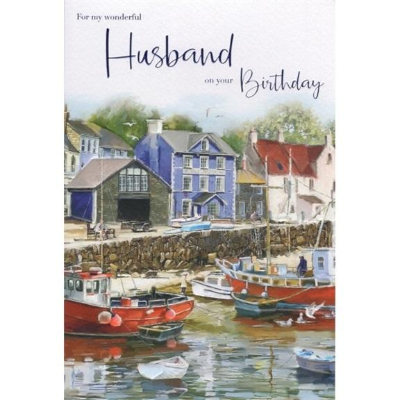 Wonderful Husband Boats Birthday Card