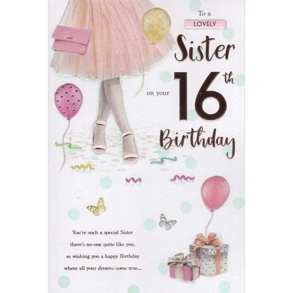 Birthday Card - Sister 16th Card