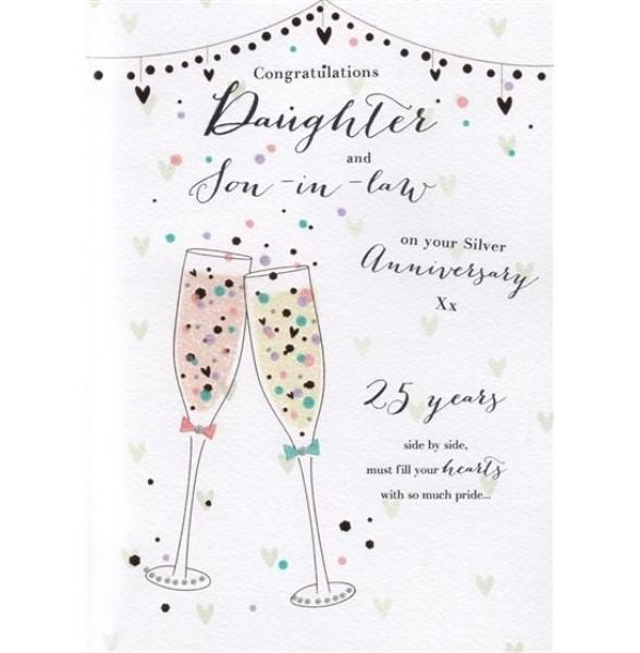 Daughter & Son-in-law Silver 25th Anniversary Card