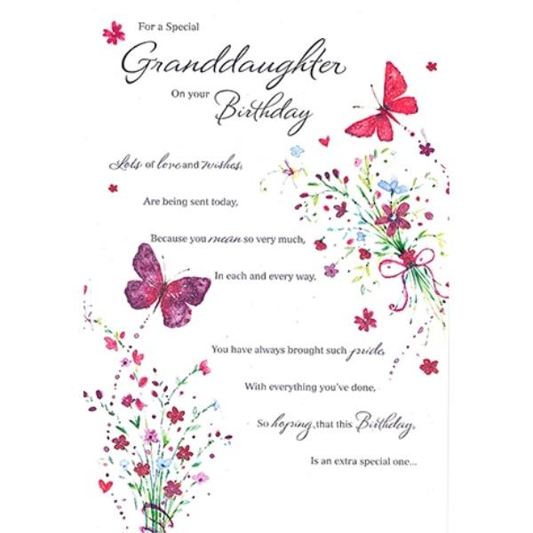 Birthday Card - Xtra Special Granddaughter Card