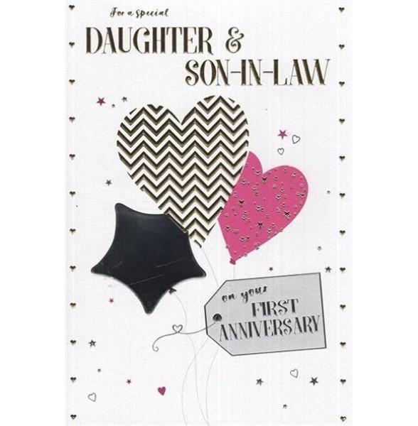 Festive Balloons Daughter & Son-in-law Anniversary Card