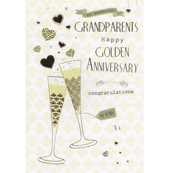 Wonderful Grandparents Golden 50th Anniversary Card