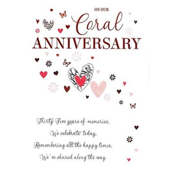 On Our Coral Anniversary 35th Anniversary Card