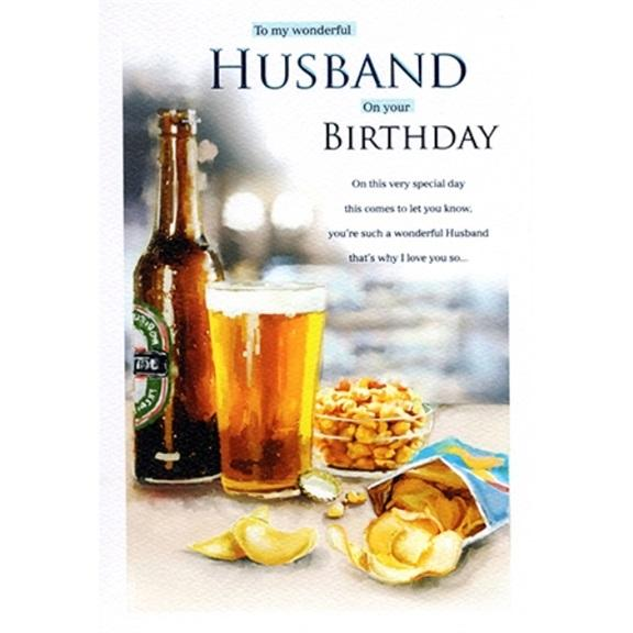 Wonderful Husband Beer And Chips  Birthday Card