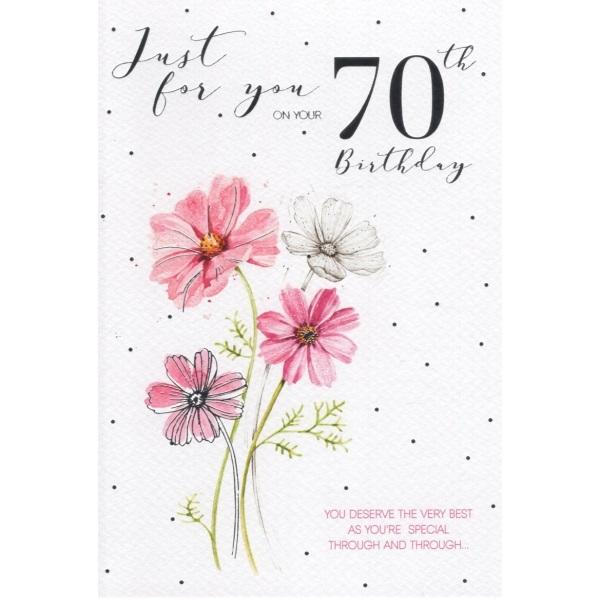 70th Birthday Card - Flower Painted Cover