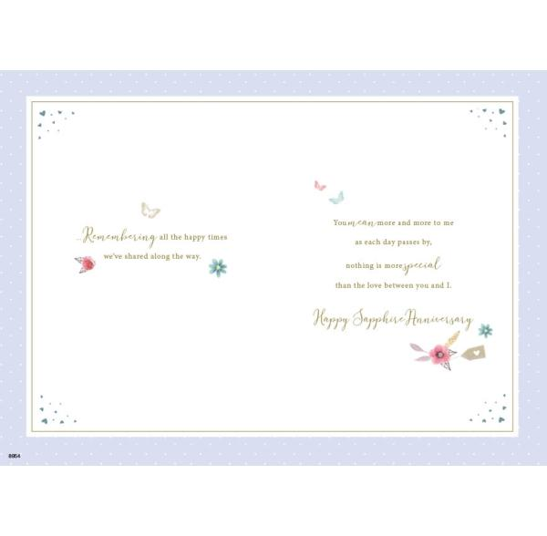 Lovely Wife Sapphire 45th Anniversary Card