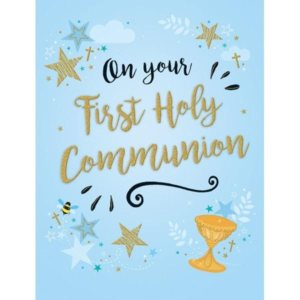On Your First Holy Communion Blue Card